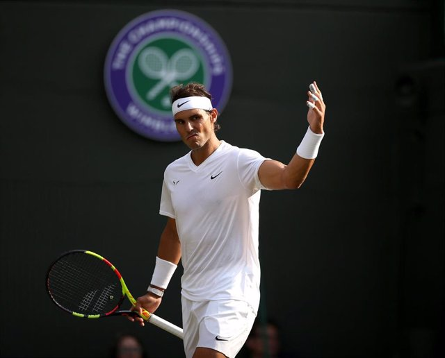 10 July 2019, England, London: Spanish tennis player Rafael Nadal reacts during his men's singles quarter-final match against US Sam Querrey on day nine of the 2019 Wimbledon Grand Slam tennis tournament at the All England Lawn Tennis and Croquet Club. Ph