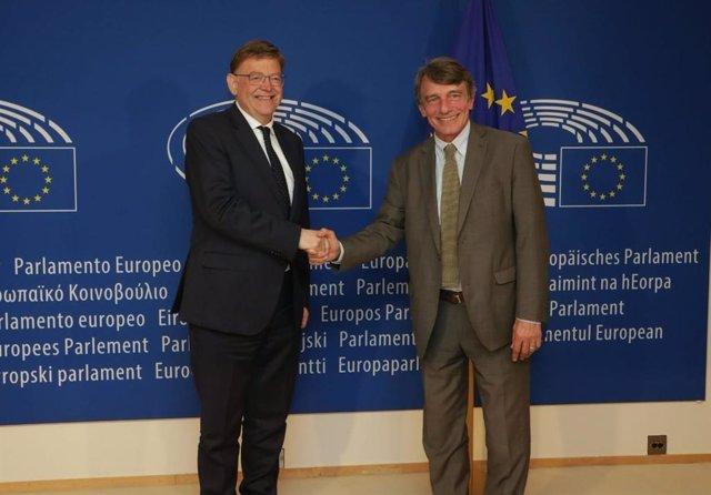El president de la Generalitat Valenciana se reúne con el presidente del Parlamento Europeo, David Sassoli