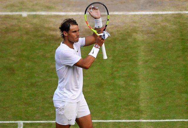 Rafael Nadal celebrando su victoria en Wimbledon