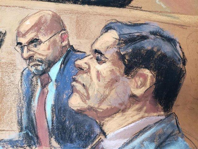 Ilustración del juicio contra 'El Chapo' en Estados Unidos
