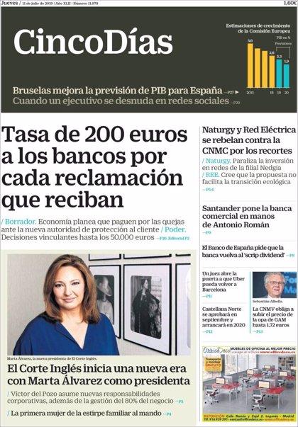 Las portadas de los periódicos económicos de hoy, jueves 11 de julio