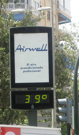 Imagen de un termómetro de Murcia que marca 39 grados.