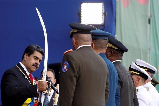 Maduro durante el acto de jura de lealtad de la FANB en Caracas (Venezuela)