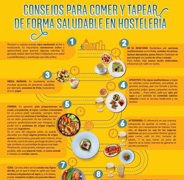Cartel con consejos para comer y tapear de forma saludable