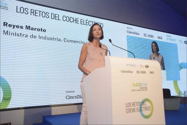 Reyes Maroto, ministra de Industria, Comercio y Turismo en la Jornada retos del Coche Eléctrico, organizada por 'El País'