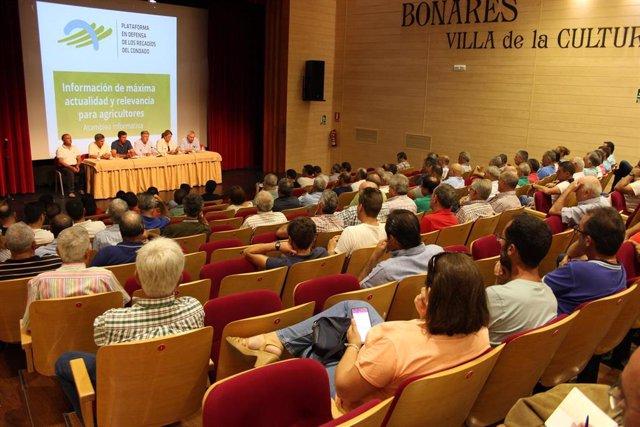 La Plataforma de Regantes del Condado de Huelva en una asamblea.