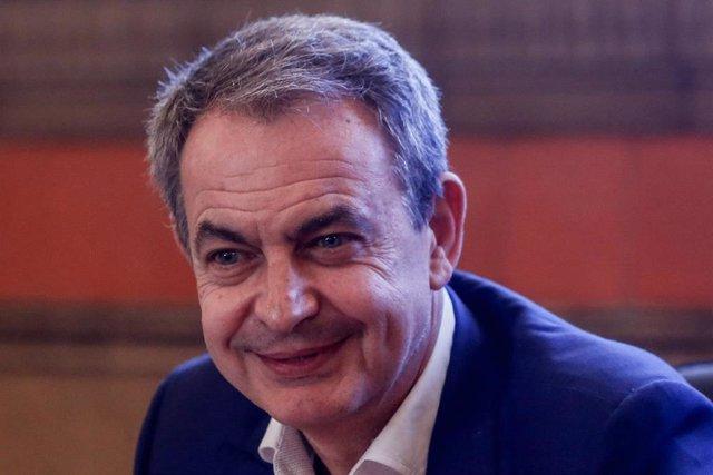 El ex presidente del Gobierno José Luis Rodríguez Zapatero presente en la jornada '1888-2018: UGT en la historia del sindicalismo ferroviario en España' celebrada en el Colegio de Huérfanos de Ferroviarios de Madrid.