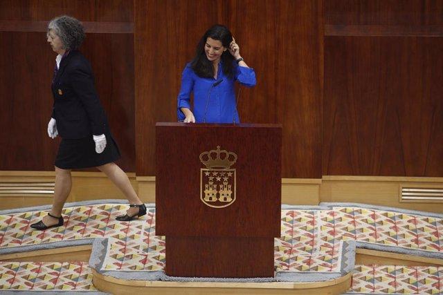 La candidata de VOX a la presidencia de la Comunidad de Madrid, Rocío Monasterio, durante su intervención en el pleno de investidura del presidente de la Comunidad de Madrid.
