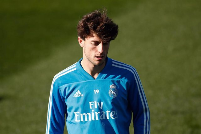 Alvaro Odriozola of Real Madrid during a training session celebrated one day before the Spanish Cup, Copa del Rey, semi-final round, football match between Real Madrid and FC Barcelona at Ciudad Deportiva Real Madrid in Valdebebas, Madrid, Spain, on Febru