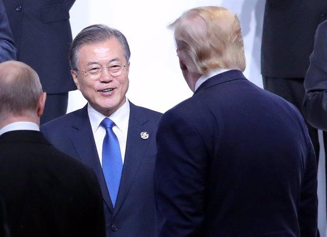El presidente de Corea del Sur,  Moon Jae In y el presidente de Estados Unidos, Donald Trump