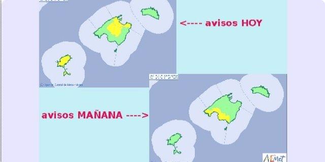 Mapa de avisos de la Aemet en Baleares.