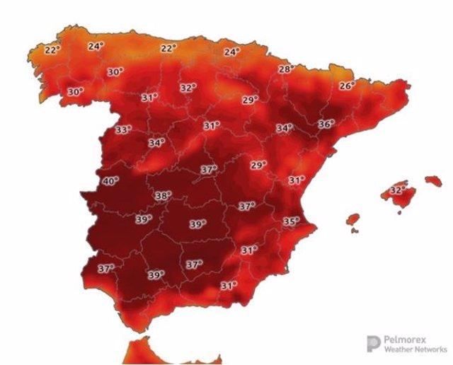 Mapa de altas temperaturas