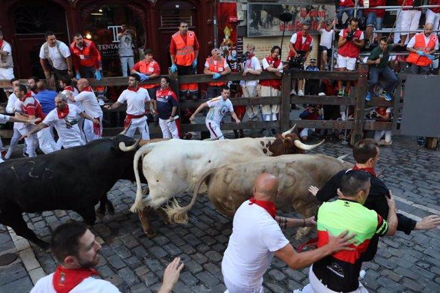 Sexto encierro de las fiestas de San Fermín con toros de la Ganadería Núñez del Cuvillo en Pamplona.