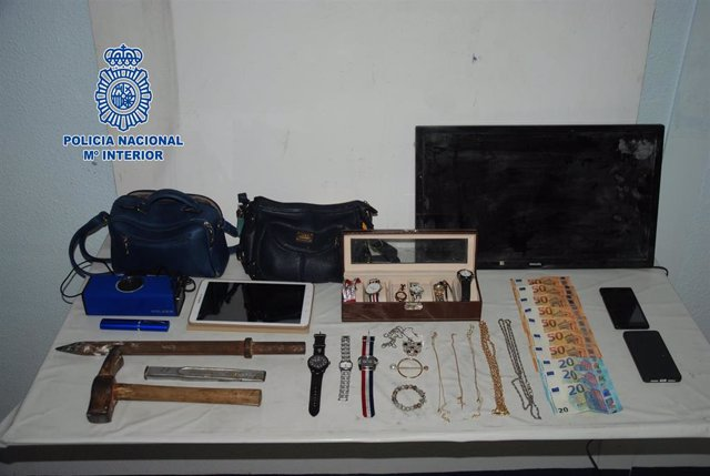 Objetos incautados de robos en Alcázar de San Juan.