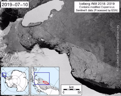 El iceberg monstruo A68 cumple dos años moviéndose hacia el norte