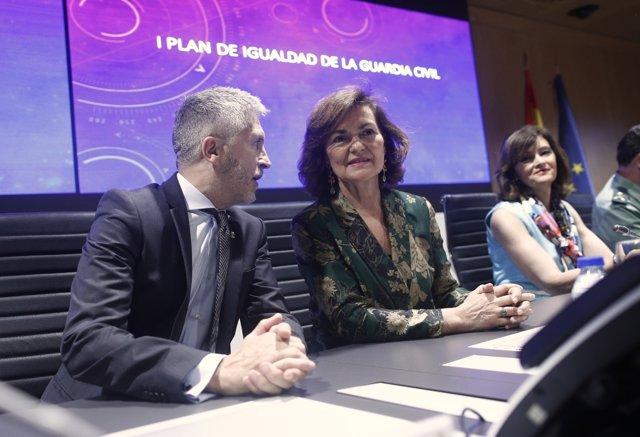 Entrevista en Telecinco a la vicepresidenta del Gobierno en funciones, Carmen Calvo