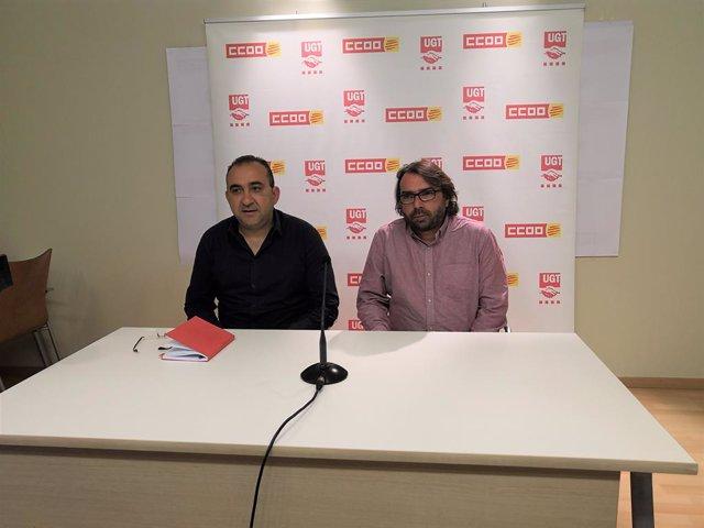 Javier Pacheco (CCOO) i Camil Ros (UGT).