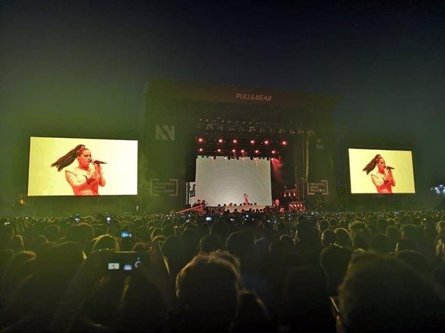 La cantante Rosalía en concierto