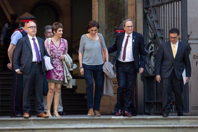 El president de la Generalitat, Quim Torra, surt de declarar del TSJC al maig.