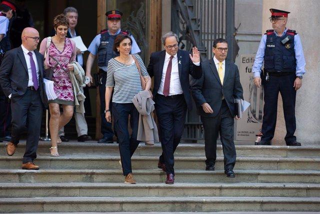 El presidente de la Generalitat catalana, Quim Torra, sale de declarar del TSJC.