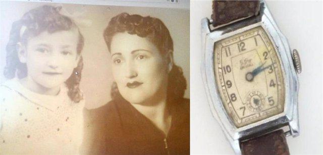 Fotografía de la sobrina y la hermana de Francisco Guevara y del reloj de José Cabrera.