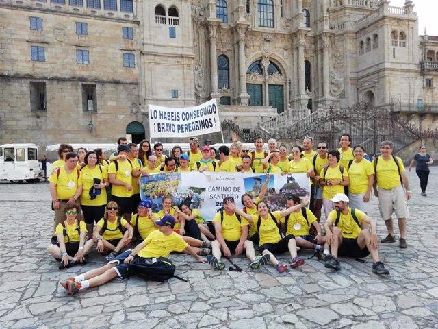 Llegada a Compostela de los peregrinos de la Fundación Down Madrid