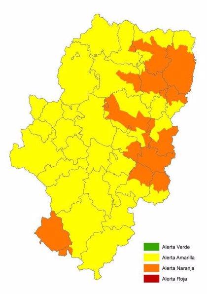 Alerta naranja de riesgo de incendios forestales en diversas zonas de Aragón