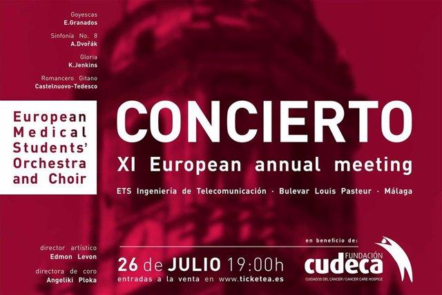 Cartel del concierto de la Orquesta y Coro Europeo de Estudiantes de Medicina a beneficio de Cudeca