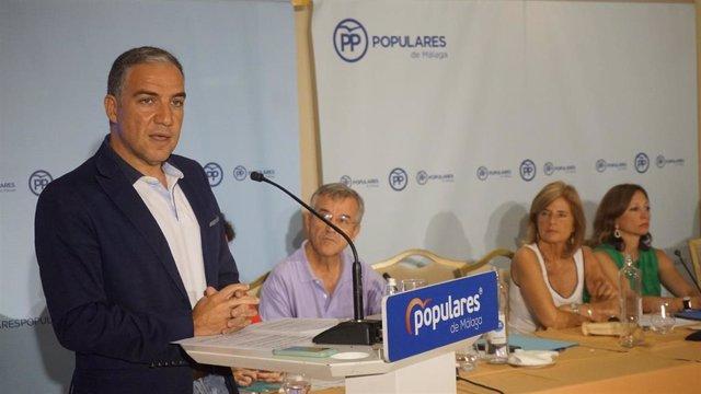 El presidente del Partido Popular de Malaga y consejero de Presidencia de la Junta de Andalucía, Elías Bendodo.