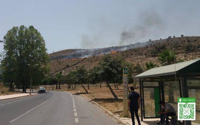 Declarado un incendio en el paraje Cerro Jandas de Dalías