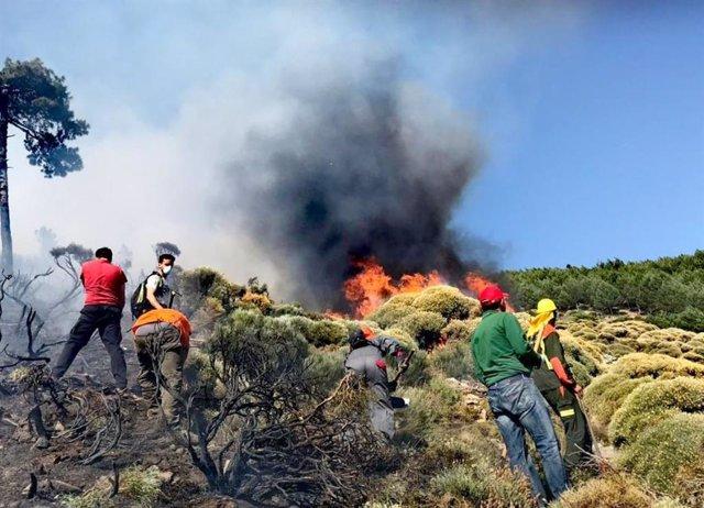 Incendios.- Medios aéreos y terrestres trabajan en un fuego en Sotillo de la Adrada (Ávila) en nivel 1