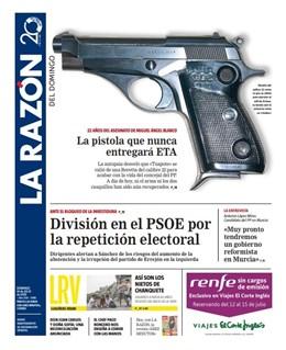 Portada del periódico La Razón, del domingo 14 de julio.