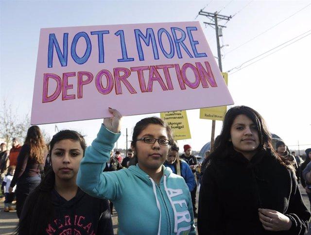 Protesta contra las deportaciones en Tacoma, Washington