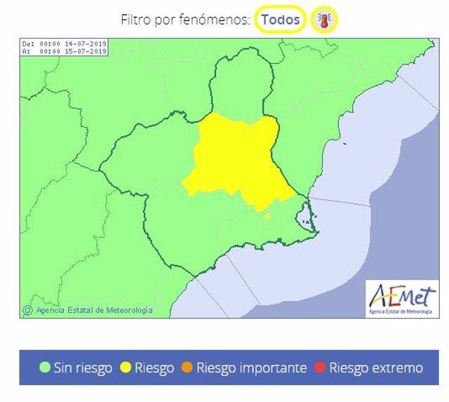 Mapa alerta amarilla por temperaturas en la Región el domingo