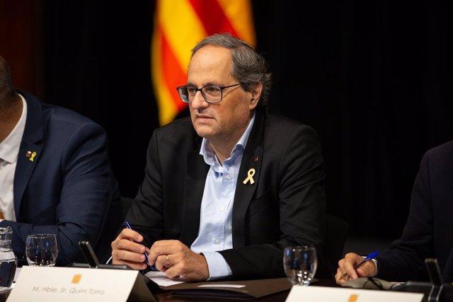 El president de la Generalitat de Catalunya, Quim Torra, durant la constitució del plenari per al Pacte Nacional per la Mobilitat Segura i Sostenible. (ARXIU)