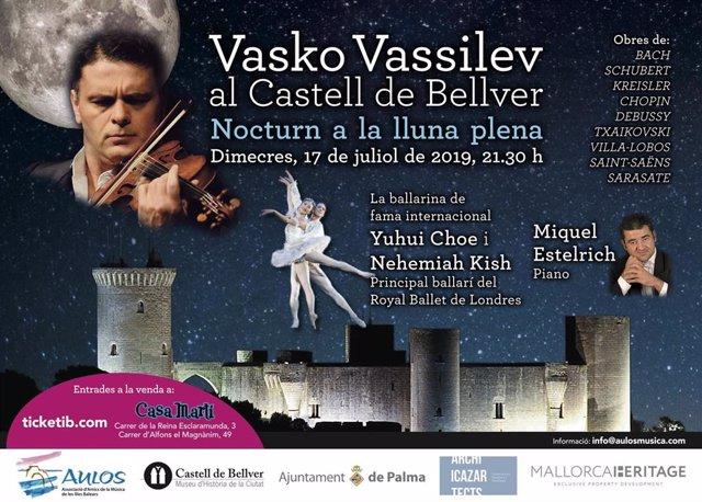Cartel informativo del concierto del pianista búlgaro Vasko Vassilev en el Castillo de Bellver.