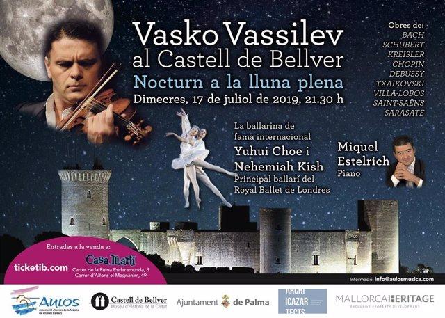 Cartell informatiu del concert del pianista búlgar Vasko Vassilev al Castell de Bellver.