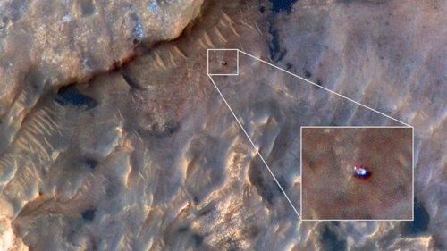 Detalles del Rover Curiosity apreciados desde la órbita de Marte