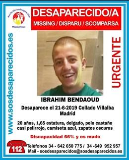 Desaparecido un joven de 20 años con discapacidad en Collado Villalba.
