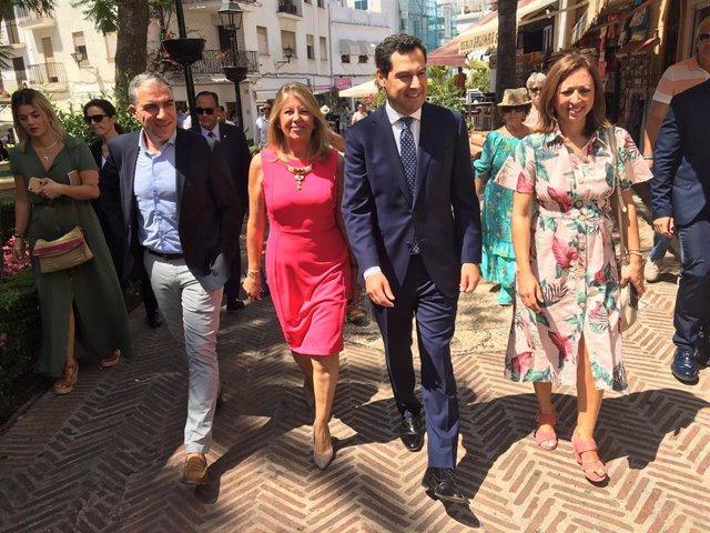 Elías Bendodo, Ángeles Muñoz, Juanma Moreno y Patricia Navarro