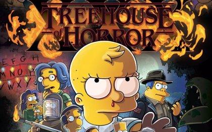 Los Simpson homenajea a Stranger Things en el póster del especial de Halloween