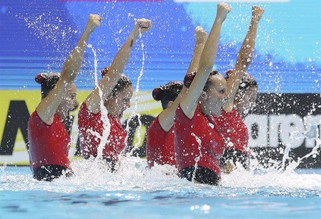15 July 2019, South Korea, Gwangju: Members of team Spain compete in the artistic swimming highlight team final event during the Gwangju 2019 FINA World Championships. Photo: -/Gwangju2019 Organizing Committee via Zuma Press/dpa