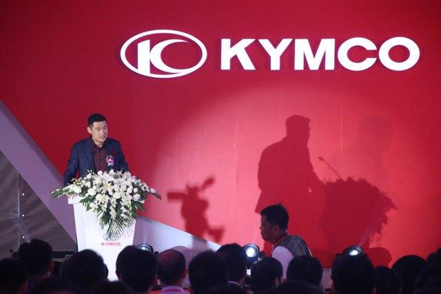 El presidente de Kymco, Allen Ko, en la inauguración de la nueva planta de la compañía en Changzhou (China)