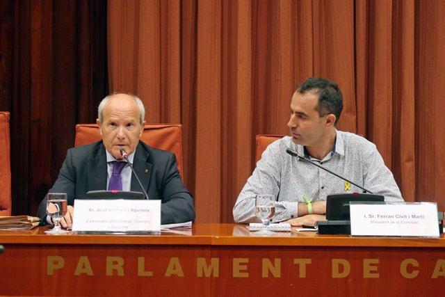 L'expresident de la Generalitat i exministre José Montilla i el president de la Comissió d'Investigació del projecto Castor, Ferran Civit, aquest dilluns