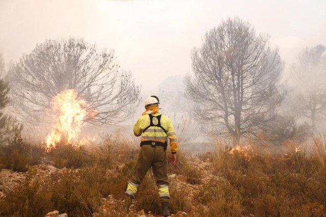 Bomberos trabajando en la extinción del incendio en Beneixama