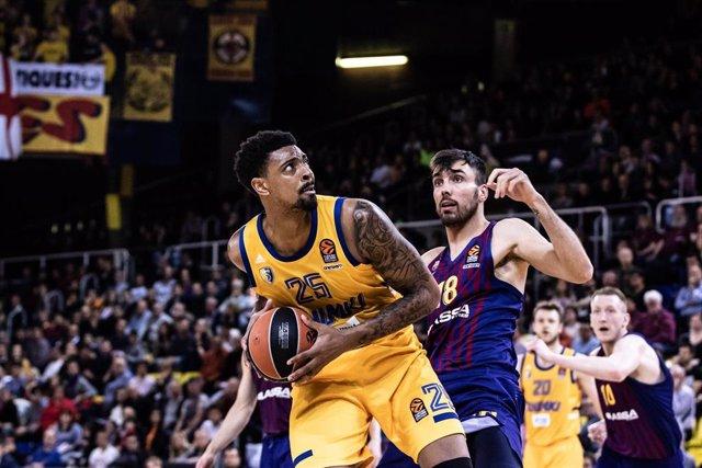 Jordan Mickey, #25 of Khimki Moscow Region during the EuroLeague Basketball, match between FC Barcelona Lassa and Khimki Moscow Region at Palau Blaugrana, in Barcelona, Spain. April 05, 2019.