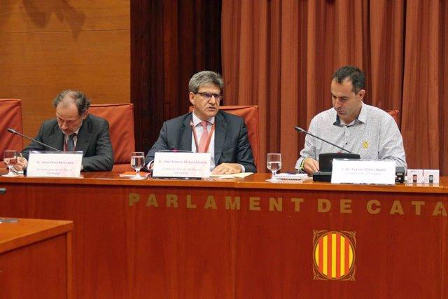 En el centro, el consejero delegado del Banco Santander, José Antonio Álvarez, en su comparecencia en el Parlament por el proyecto Castor.