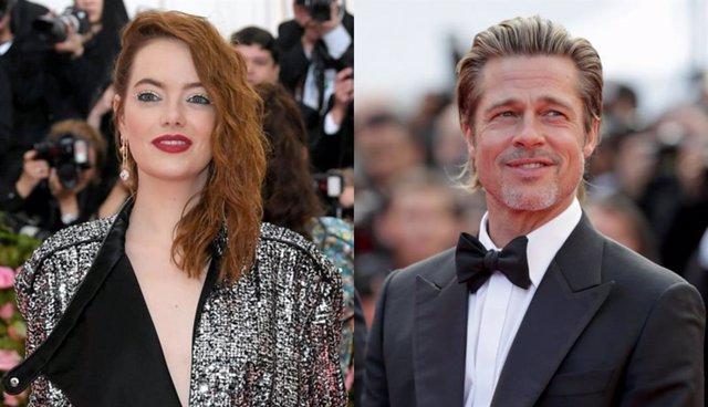 Emma Stone durante la MET Gala 2019 y Brad Pitt en la alfombra roja de Cannes en la presentación de 'Érase una vez... En Hollywood'