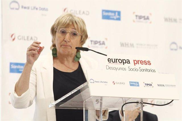 La consejera de Sanidad Universal y Salud Pública de la Generalitat Valenciana, Ana Barceló, interviene en un Desayuno Socio-Sanitario de Europa Press organizado en el Hotel InterContinental de Madrid.