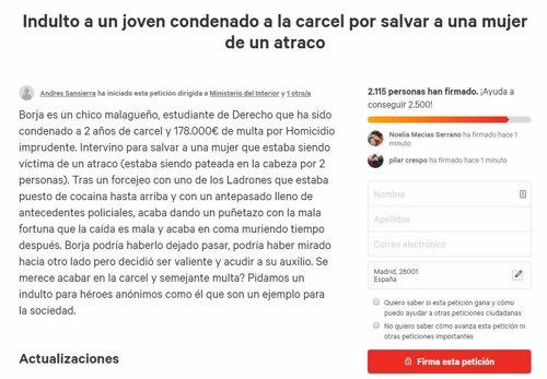 Petición para pedir el indulto de un joven que defendió a una mujer de un atraco